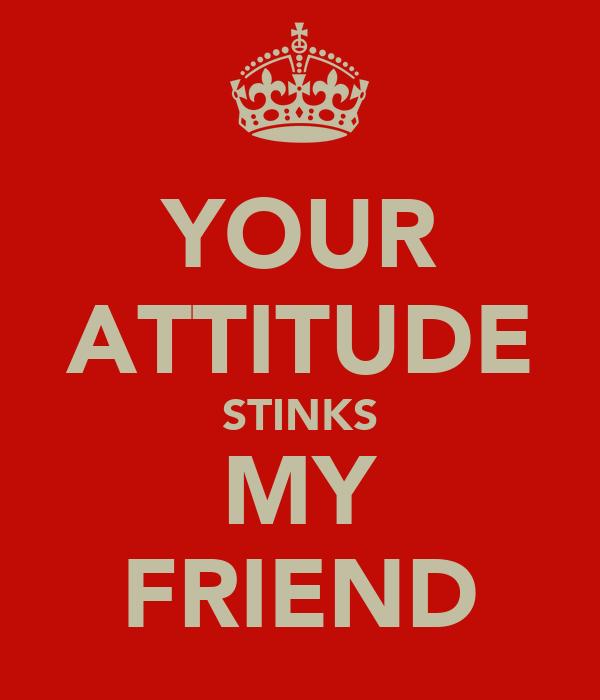 YOUR ATTITUDE STINKS MY FRIEND