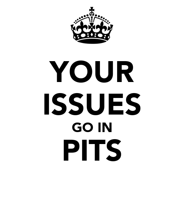 YOUR ISSUES GO IN PITS