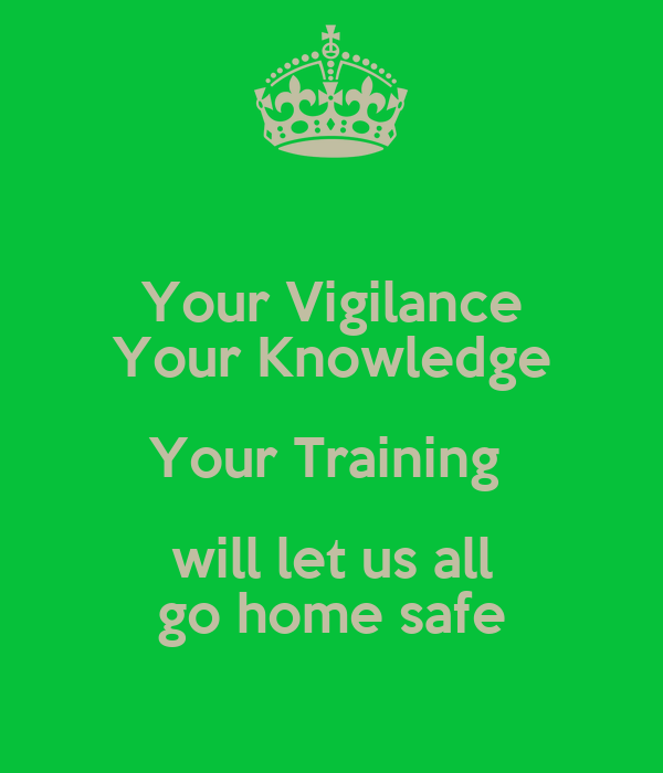 Your Vigilance Your Knowledge Your Training  will let us all go home safe