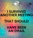 Poster: I SURVIVED ANOTHER MEETING THAT SHOULD HAVE BEEN AN EMAIL