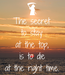 Poster: The secret to stay at the top, is to die at the right time.