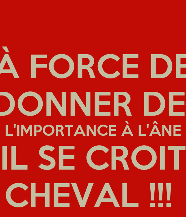 A Force De Donner De L Importance A L Ane Il Se Croit Cheval Poster Jvjddufi Keep Calm O Matic