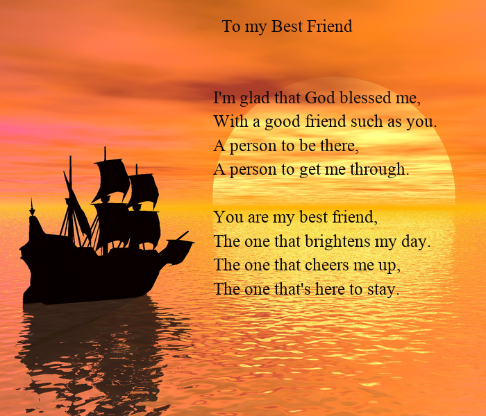 To My Best Friend Im Glad That God Blessed Me With A Good Friend