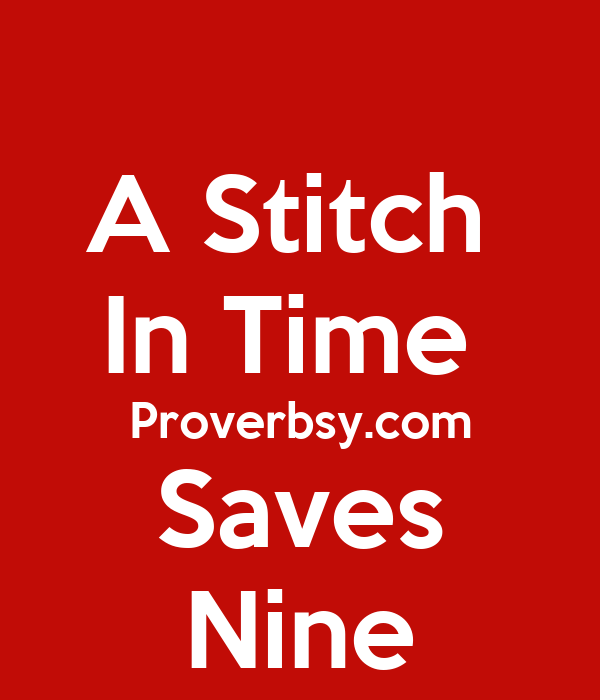 a stitch in time saves nine+essay