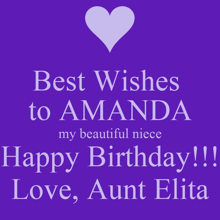 Best Wishes To AMANDA My Beautiful Niece Happy Birthday
