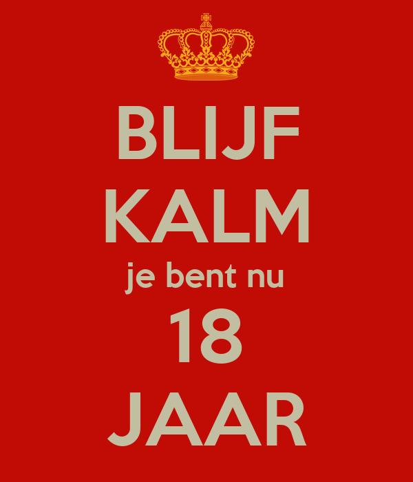 18 jaar en nu BLIJF KALM je bent nu 18 JAAR Poster | jeroenvanderlaan | Keep  18 jaar en nu