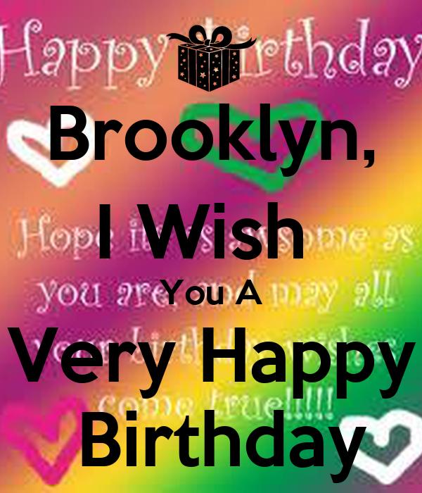 Brooklyn I Wish You A Very Happy Birthday Poster I Wish You A Happy Birthday