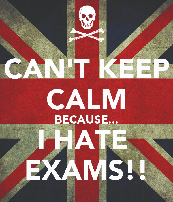 Exam quote and saying: i hate exams - exam quote image, picture, e-card for facebook, whatsapp and pinterest