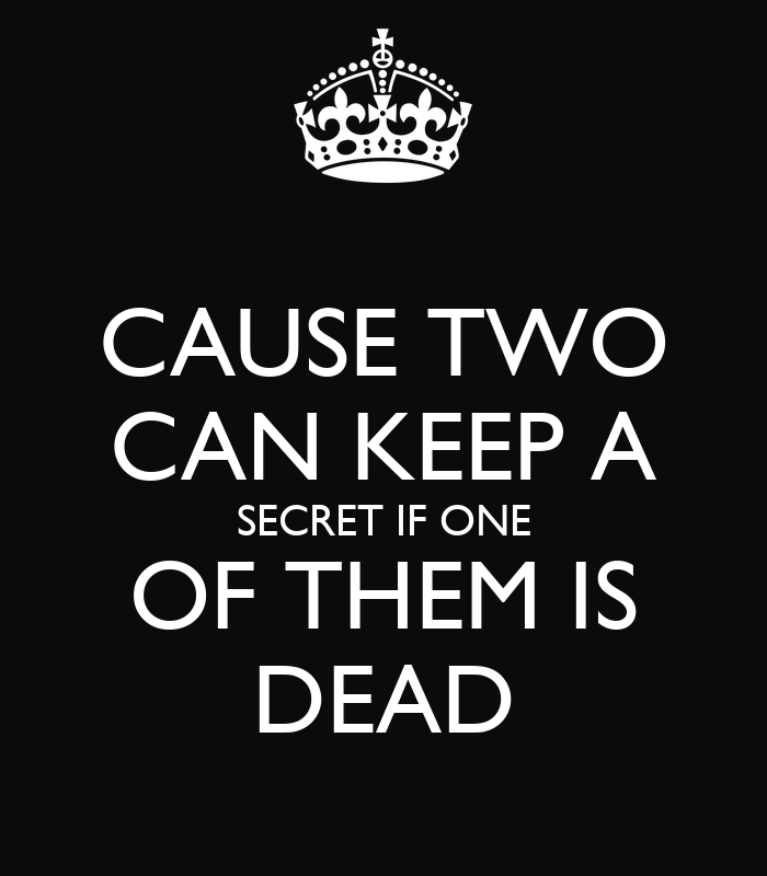 10 New Year S Resolutions Anyone Can Keep: CAUSE TWO CAN KEEP A SECRET IF ONE OF THEM IS DEAD Poster