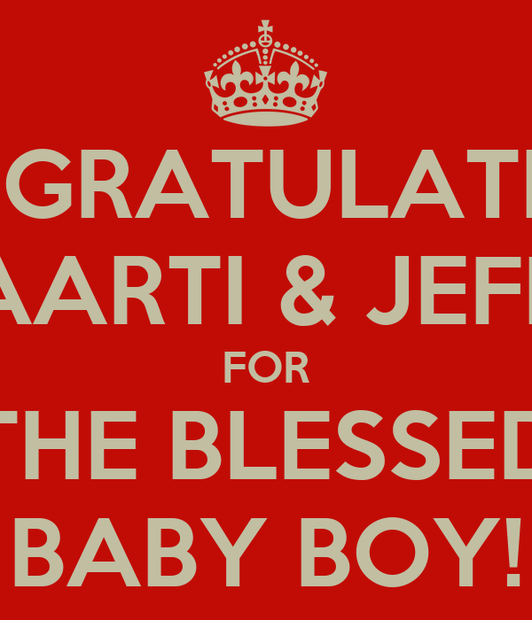Congratulations Aarti Jeff For The Blessed Baby Boy Poster Rp