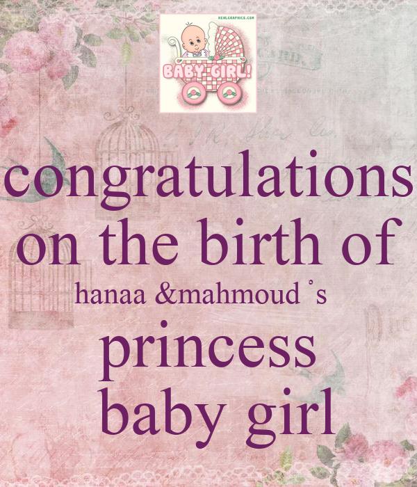 Congratulations on birth of baby girl