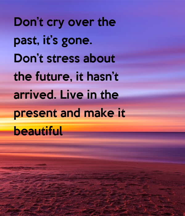 Dont Cry Over The Past Its Gone Dont Stress About The Future