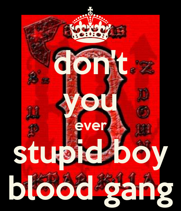 don 39 t you ever stupid boy blood gang keep calm and carry