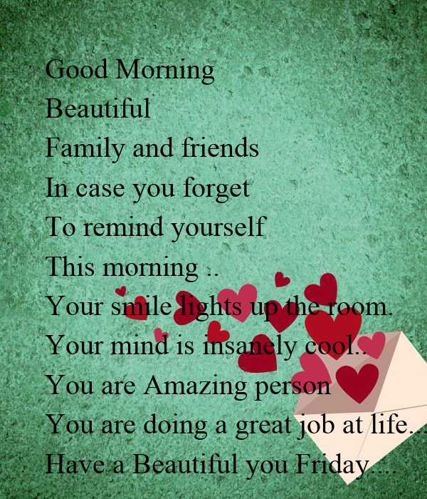 Good Morning You Are Amazing : Good morning beautiful family and friends in case you