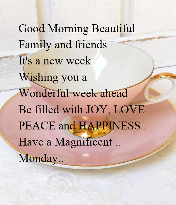 Good Morning Beautiful Family and friends It's a new week