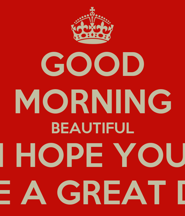 Good Morning Beautiful I Hope You Have A Great Day Poster Seth