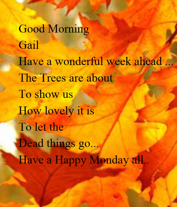 Good Morning Gail Have A Wonderful Week Ahead The Trees Are