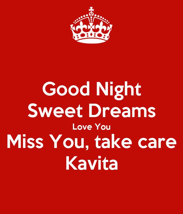 Good Night Sweet Dreams Love You Miss You Take Care Kavita Poster