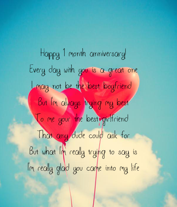 Happy 1 Month Anniversary Every Day With You Is A Great One I May