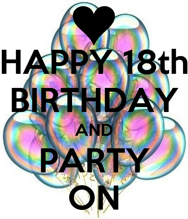 HAPPY 18th BIRTHDAY AND PARTY ON Poster