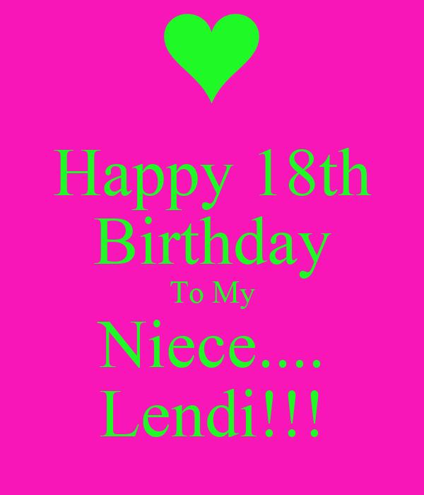 Happy 18th Birthday To My Niece Lendi Poster Leah Happy 18th Birthday Wishes To My