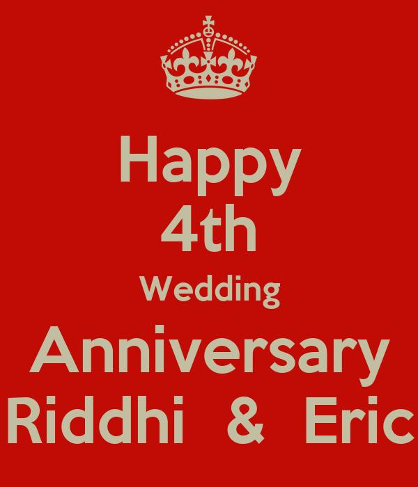 4th Wedding Anniversary: Happy 4th Wedding Anniversary Riddhi & Eric Poster