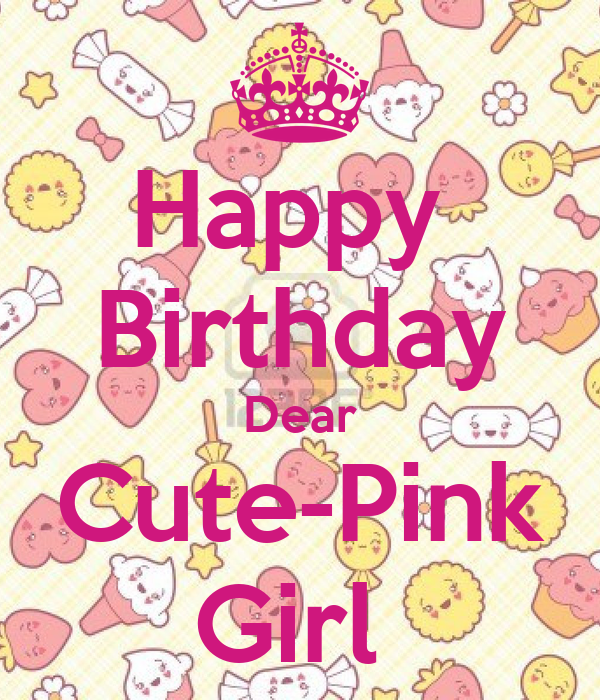 Happy Birthday Dear Cute-Pink Girl Poster