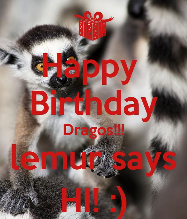 Happy Birthday Dragos Lemur Says Hi Poster Ioana Keep