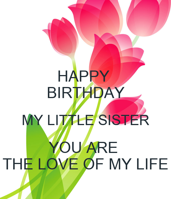 HAPPY BIRTHDAY MY LITTLE SISTER YOU ARE THE LOVE OF MY