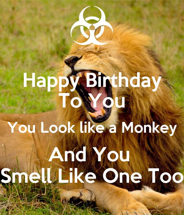 Happy birthday to you обезьяны открытка 90