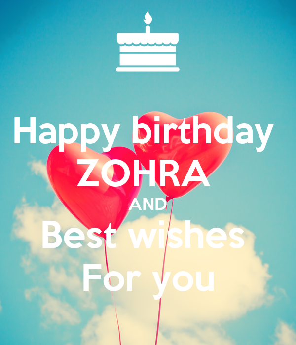 happy birthday zohra and best wishes for you