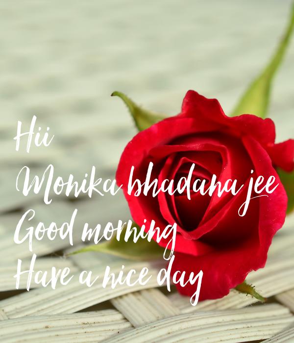 Hii Monika Bhadana Jee Good Morning Have A Nice Day Poster Amit