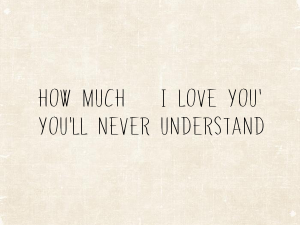 How Much I Love You Youll Never Understand Poster Fikatriana