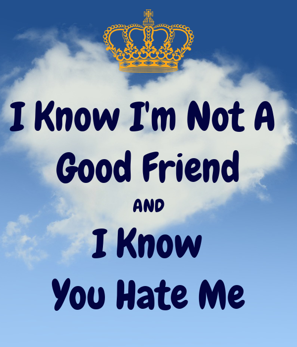 I Know Im Not A Good Friend And I Know You Hate Me Poster Nqj