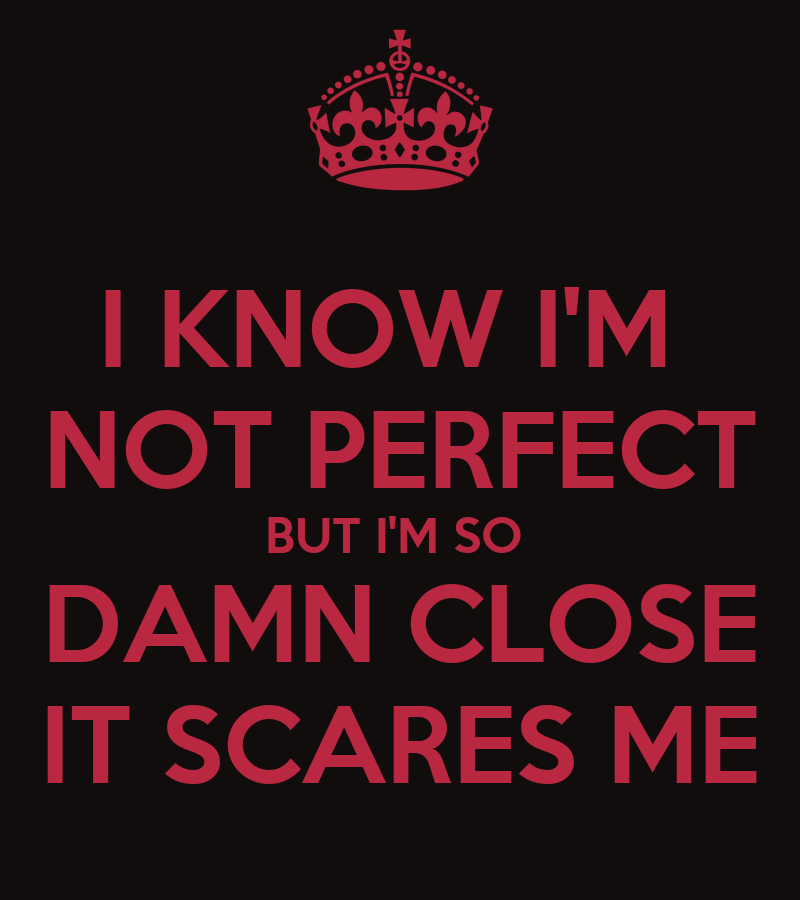 I KNOW I'M NOT PERFECT BUT I'M SO DAMN CLOSE IT SCARES ME ...