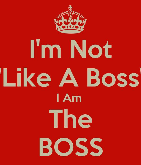 I AM Not Like the Boss the Boss