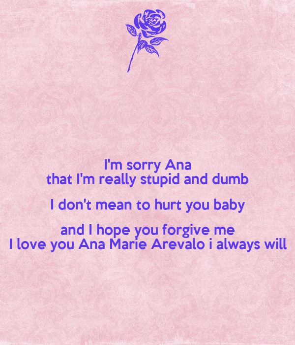 I Always Hurt The One I Love: I'm Sorry Ana That I'm Really Stupid And Dumb I Don't Mean