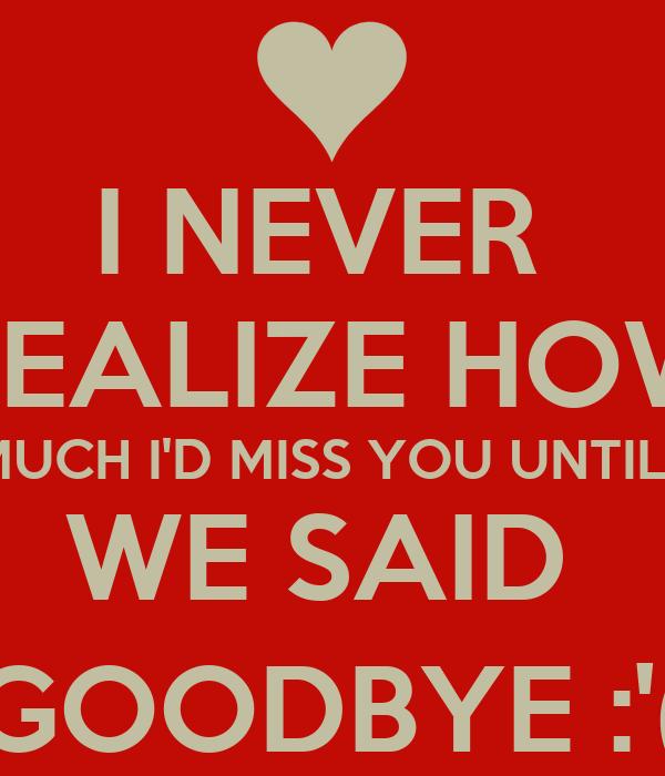 you said good bye: