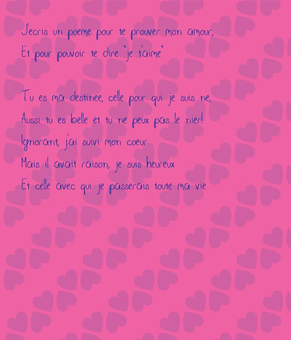 Jecris Un Poeme Pour Te Prouver Mon Amour Et Pour Pouvoir