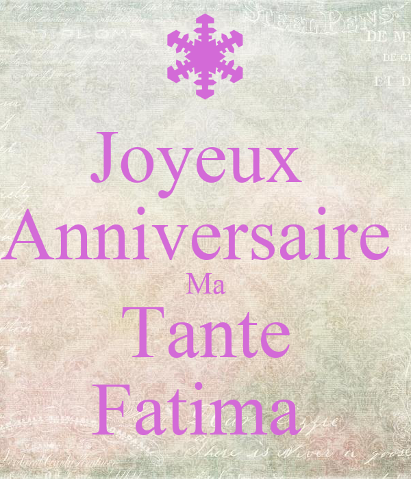 Joyeux Anniversaire Ma Tante Fatima Poster Romain Keep Calm O Matic