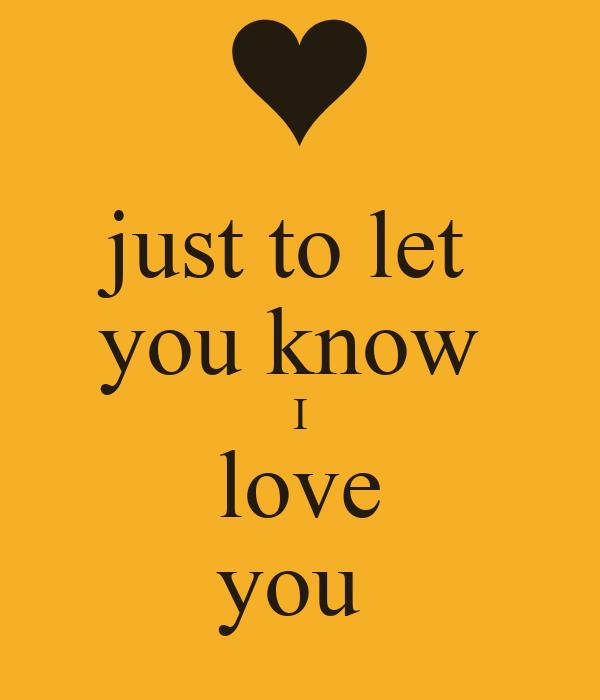 i know i love you