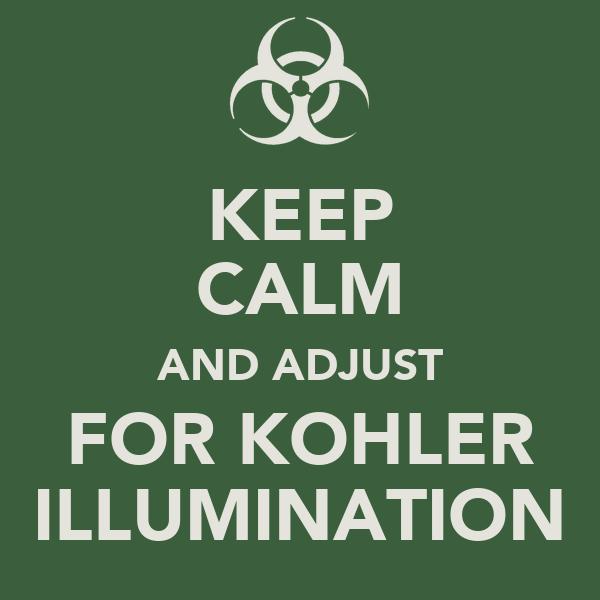 KEEP CALM AND ADJUST FOR KOHLER ILLUMINATION Poster | Kalli | Keep ...