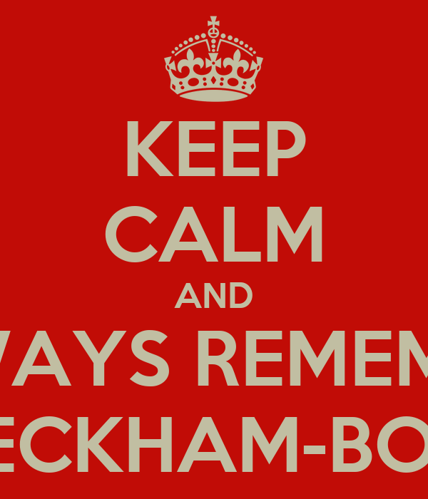 KEEP CALM AND ALWAYS REMEMBER BECKHAM-BOO
