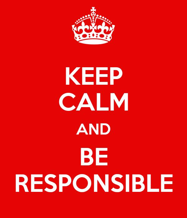 Keep Calm And Be Responsible Poster Saiful Keep Calm O