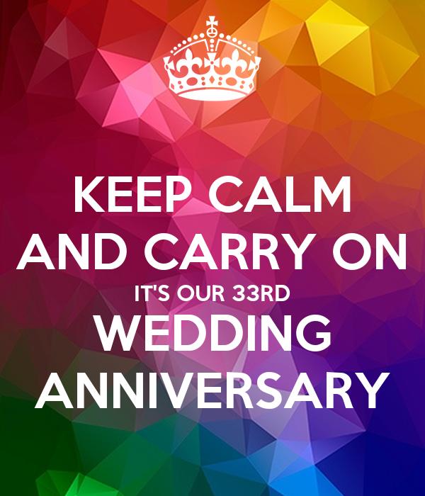 33rd Wedding Anniversary Gift: KEEP CALM AND CARRY ON IT'S OUR 33RD WEDDING ANNIVERSARY