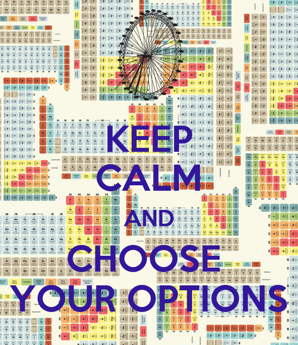KEEP CALM AND CHOOSE YOUR OPTIONS Poster | SHYAM