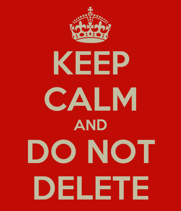 KEEP CALM AND DO NOT DELETE Poster | pat barford | Keep Calm-o-Matic