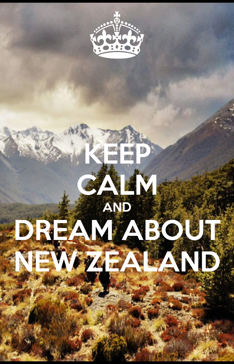 KEEP CALM AND DREAM ABOUT NEW ZEALAND