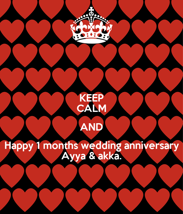 KEEP CALM AND Happy 1 months wedding anniversary Ayya & akka. Poster ...