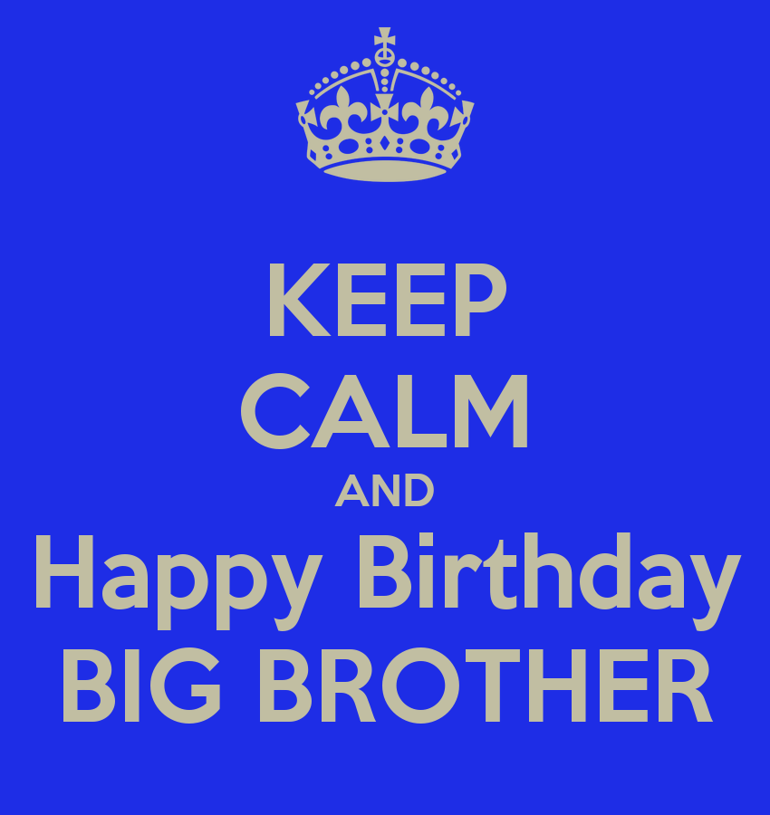 KEEP CALM AND Happy Birthday BIG BROTHER Poster